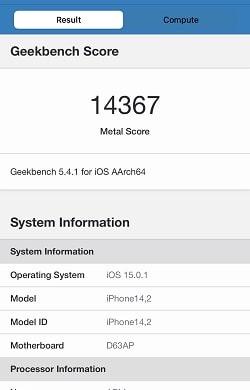 iPhone 13 Pro のGeekbenchベンチマークスコア