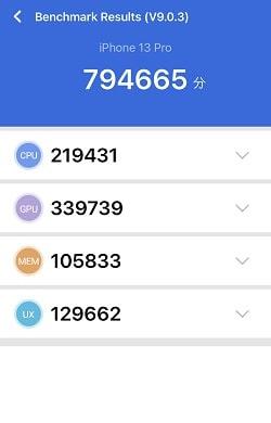 iPhone 13 Pro のAntutuベンチマークスコア