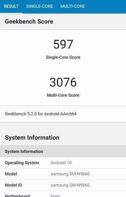 Galaxy Note20 UltraのGeekbenchベンチマークスコア