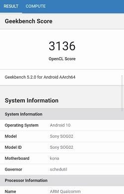Xperia 5 IIのGeekbenchベンチマークスコア