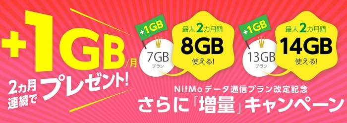NifMo 5GBプランを7GBに、10GBプランを13GBに増量を発表!さらに2ヵ月間1GB増量キャンペーンも