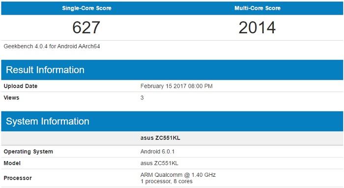 ZenFone 3 Laserのベンチマークスコア