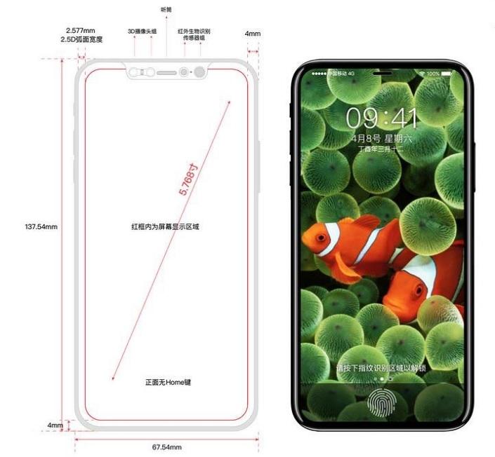 iPhone 8のデザインはリーク!やはり「Touch ID」は画面に埋め込まれる?!