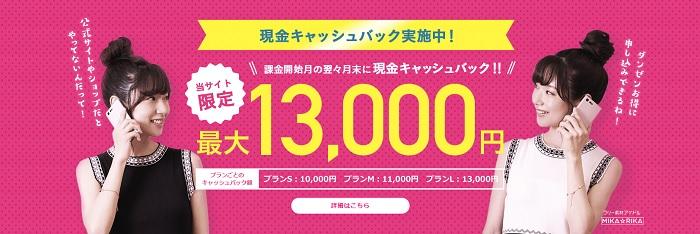 UQモバイルで最大13,000円のキャッシュバックを受け取る方法