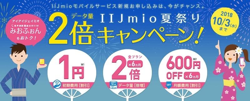 IIJmio(みおふぉん) 月額600円×6カ月割引&データ容量2倍キャンペーンを開始!
