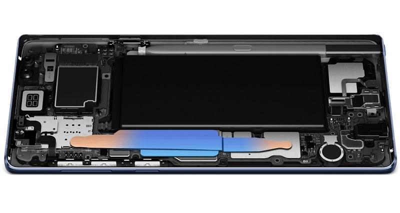 Galaxy Note9 SC-01Lのウォーターカーボンクーリングシステム