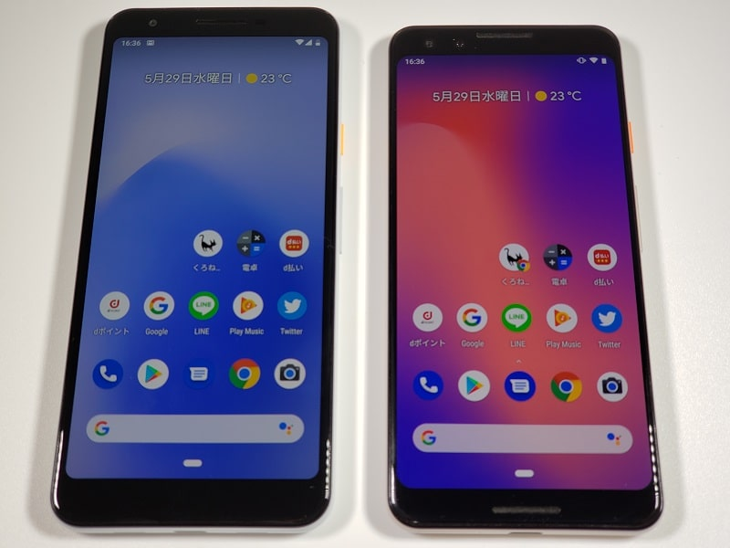 「Google Pixel 3a」と「Google Pixel 3」の本体