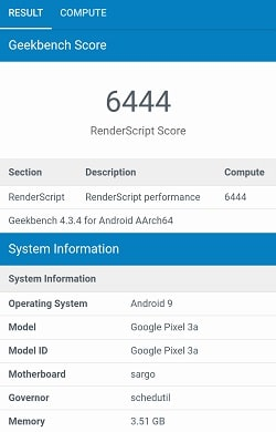 Google Pixel 3aのGeekbenchベンチマークスコア