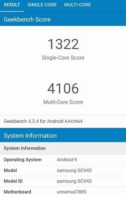 Galaxy A30 のGeekbenchベンチマークスコア