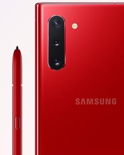 Galaxy Note10 のカラーバリエーションオーラレッド