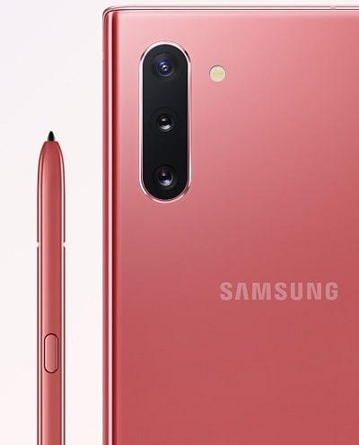 Galaxy Note10 のカラーバリエーションオーラピンク