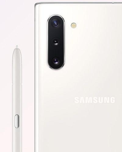 Galaxy Note10 のカラーバリエーションオーラホワイト