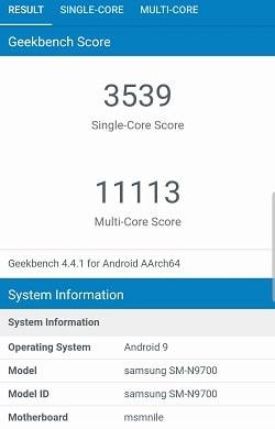 Galaxy Note10 のGeekbenchベンチマークスコア