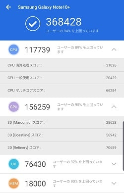 Galaxy Note10+ のAntutuベンチマークスコア