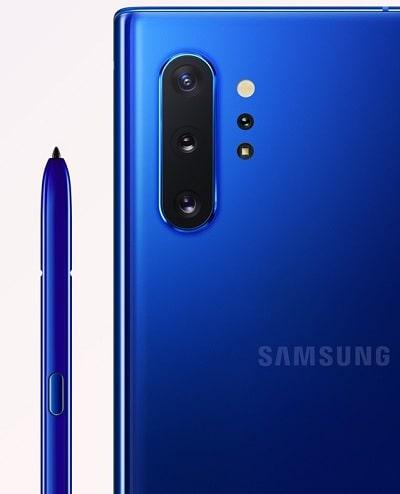 Galaxy Note10 のカラーバリエーションオーラブルー