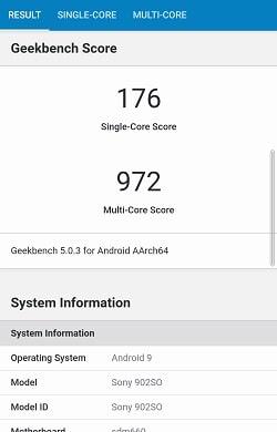 Xperia 8 のGeekbenchベンチマークスコア
