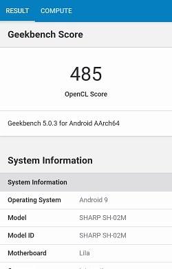 AQUOS sense3 のGeekbenchベンチマークスコア
