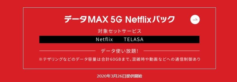 データ容量無制限の データMAX 5G Netflixパック