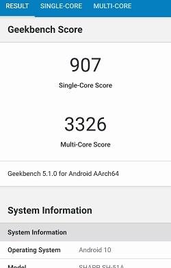 AQUOS R5G のGeekbenchベンチマークスコア