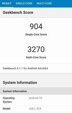 LG V60 ThinQ 5G のGeekbenchベンチマークスコア