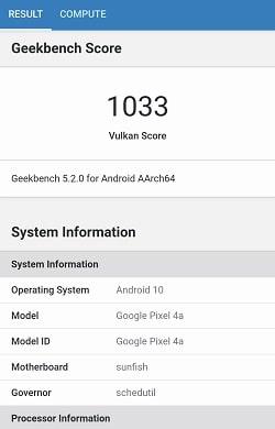 Google Pixel 4a のGeekbenchベンチマークスコア