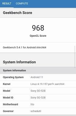 Xperia 10 III のGeekbenchベンチマークスコア